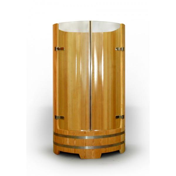 Душевая кабина из лиственницы со стеклами
