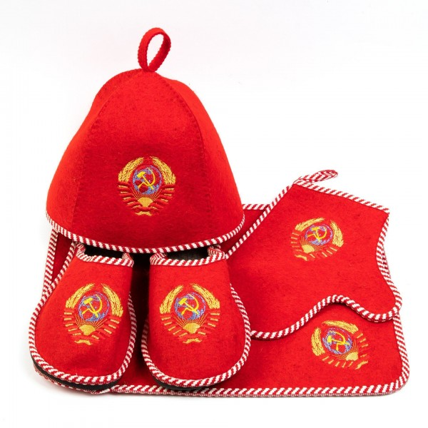 Набор для бани цветной войлок красный Герб СССР